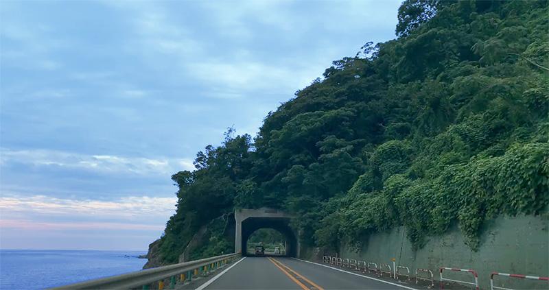 朝の伊豆半島を走る