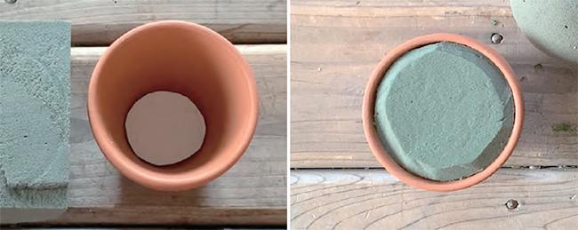 オアシスを植木鉢の形にカットする