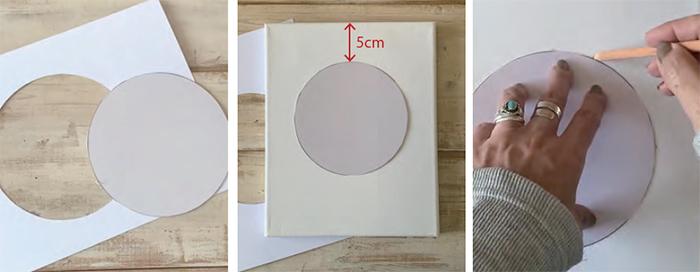 型紙から円をキャンバスに描きます