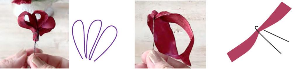 0cm の方は 3 つ折にしてワイヤリングします。 15cmの方は中心でワイヤリングしておきます。
