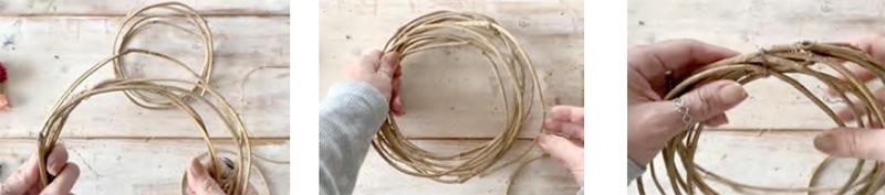 好みのバランスでリースを組み直します。緩めに輪を作る様にまとめ、ワイヤーで2 箇所固定します。